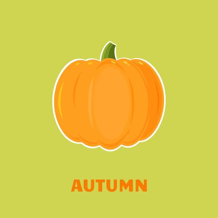 Pumpkin Vegetables Cartoon Flat Design Style. Illustration With Background And Text Autumn