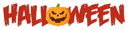 Halloween Greeting Banner Of A Evil Pumpkin As The O. Illustration Flat Design Style Isolated On White Background Imagens