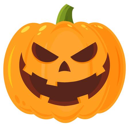 Grinning Evil Halloween Pumpkin Dibujos animados Emoji Face personaje con expresión. Ilustración aislada en el fondo blanco Foto de archivo - 85889209