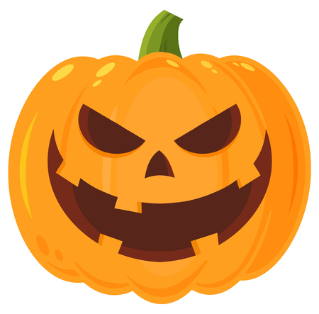 Grinning Evil Halloween Pumpkin Cartoon Emoji Face Character With Expression. Illustration Isolated On White Background
