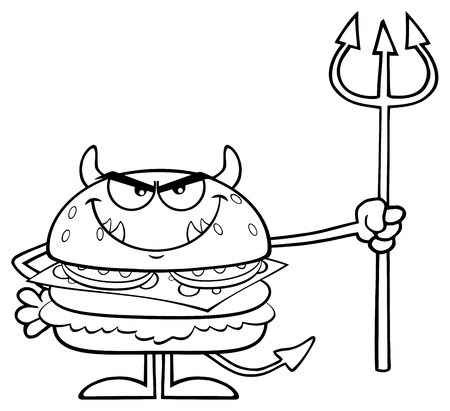 junkie: Black And White Angry Devil Burger Cartoon Character Holding A Trident. Illustration Isolated On White Background Stock Photo