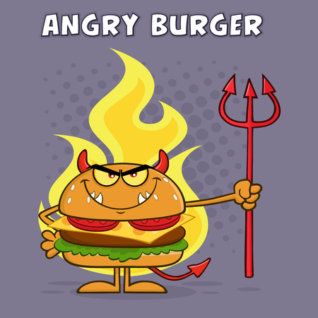 Evil Burger Cartoon Character Holding A Trident Over Flames. Illustration With Purple Halftone Background And Angry Burger Text Archivio Fotografico