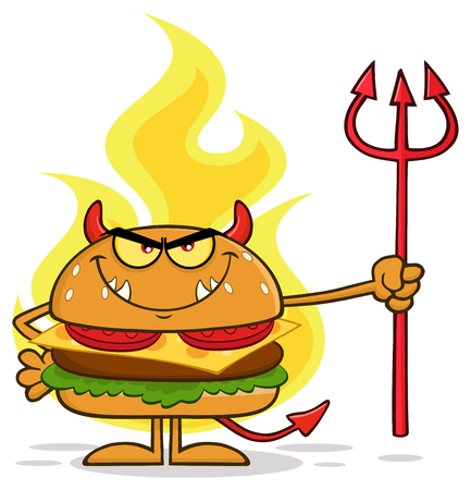 Grumpy Devil Burger Cartoon Character Holding A Trident Over Flames. Illustration Isolated On White Background