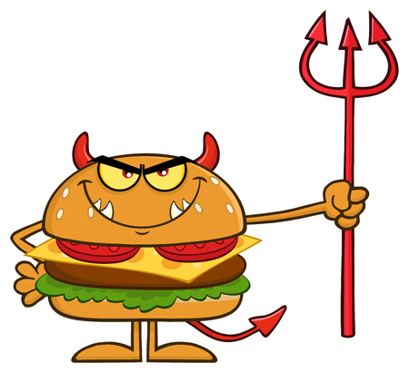 Angry Devil Burger Cartoon Character Holding A Trident. Illustration Isolated On White Background Stock Photo