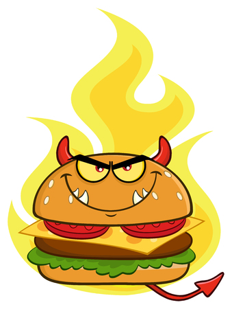 Angry Devil Burger Cartoon Mascot Character Over Flames. Illustration Isolated On White Background Stock Photo