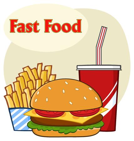 Fast Food Hamburger Drink en frieten Cartoon tekening eenvoudig ontwerp. Illustratie op Witte Achtergrond met Tekst snel Voedsel wordt geïsoleerd dat Stockfoto