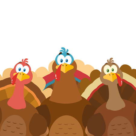 Thanksgiving Turkeys Cartoon Mascot Characters. Illustration Flat Design Isolated On White Background