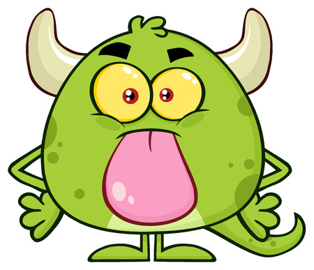 Cute Green Monster Cartoon Emoji Character Sticking Its Tongue Out. Illustration Isolated On White Background Banco de Imagens