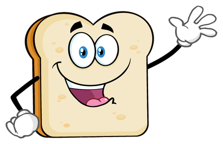 White Sliced Bread Cartoon Mascot Character Waving For Greeting. Illustration Isolated On White Background