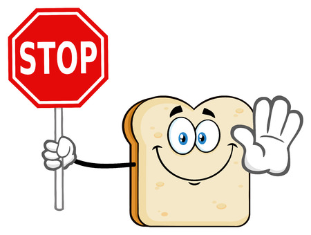 White Sliced Bread Cartoon Mascot Character Gesturing And Holding A Stop Sign. Illustration Isolated On White Background