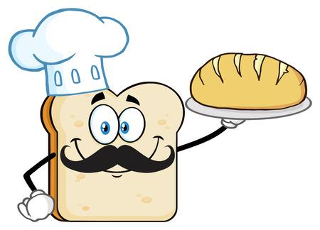 シェフパンスライス漫画マスコットキャラクターは完璧なパンを提示します。白い背景に分離されたイラスト