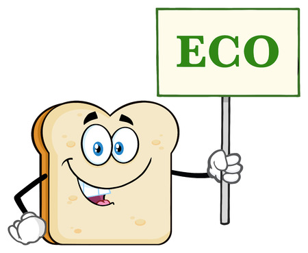 White Sliced Bread Cartoon Mascot Character Holding A Sign With Text Eco. Illustration Isolated On White Background Stock Photo