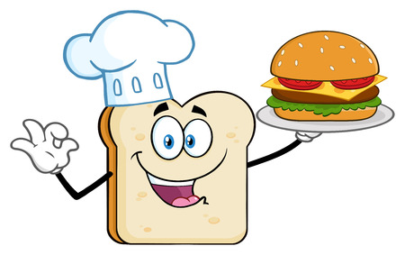 Chef Bread Slice Cartoon Mascot Character Presenting Perfect Burger. Illustration Isolated On White Background