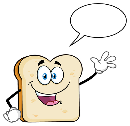 White Sliced Bread Cartoon Mascot Character Waving For Greeting With Speech Bubble. Illustration Isolated On White Background