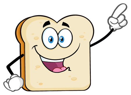White Sliced Bread Cartoon Mascot Character Pointing. Vector Illustration Isolated On White Background Stock Photo