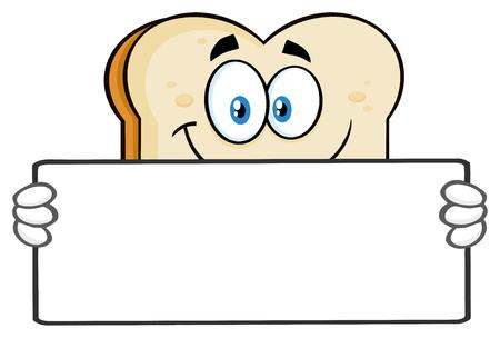白いスライスパン漫画のマスコットキャラクターは、空白の看板を保持しています。白い背景に隔離されたイラスト
