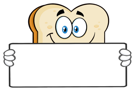 White Sliced Bread Cartoon Mascot Character Holding A Blank Sign. Illustration With Isolated On White Background Stock Photo
