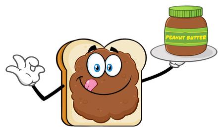 ピーナッツバターの瓶を保持ピーナッツバターとパンスライス漫画のマスコットキャラクター。白い背景に分離されたイラスト