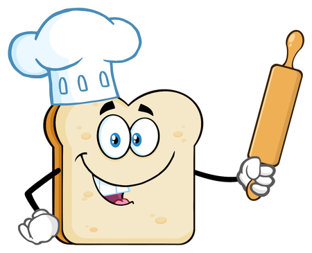 Baker Bread Slice Cartoon Mascot Character With Chef Hat Holding A Rolling Pin. Illustration Isolated On White Background