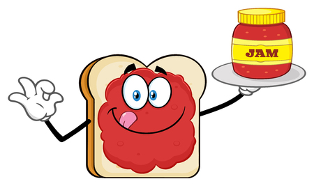 White Sliced Bread Cartoon Mascot Character With Jam Holding A Jar Of Jam. Illustration Isolated On White Background