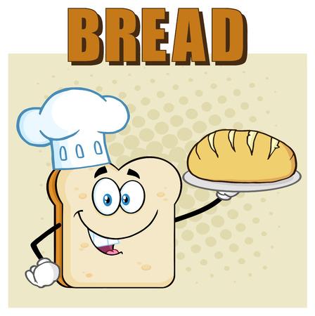 シェフパンスライス漫画マスコットキャラクターは完璧なパンを提示します。テキストパンで背景に分離されたイラストレーション