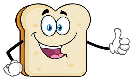 White Sliced Bread Cartoon Mascot Character Giving A Thumb Up. Illustration Isolated On White Background Stock Photo