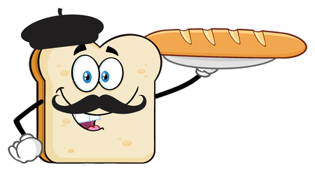Bread Slice Cartoon Character With Baret And Mustache Presenting Perfect French Bread Baguette. Vector Illustration Isolated On White Background 写真素材