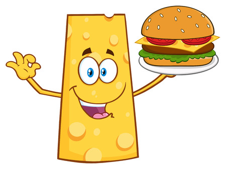 Cheese Cartoon Mascot Character Presenting A Perfect Burger. Illustration Isolated On White Background