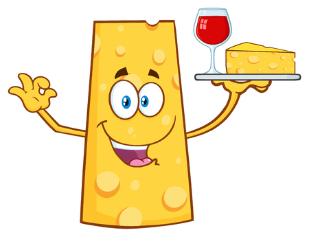 Cheese Cartoon Mascot Character Holding Up A Wine Glass And Wedge Of Yellow Cheese. Illustration Isolated On White Background