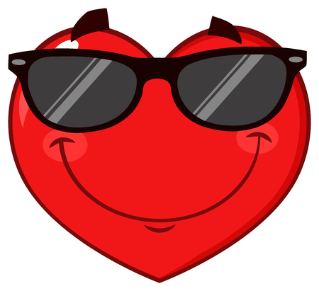 Smiling Red Heart Cartoon Emoji Face Character Wearing Sunglasses. Illustration Isolated On White Background
