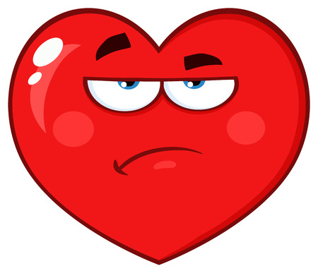 Annoyed Red Heart Cartoon Emoji Face Character With Grumpy Expression. Vector Illustration Isolated On White Background