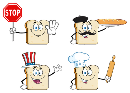 White Sliced Bread Cartoon Mascot Character. Vector Collection Isolated On White Background