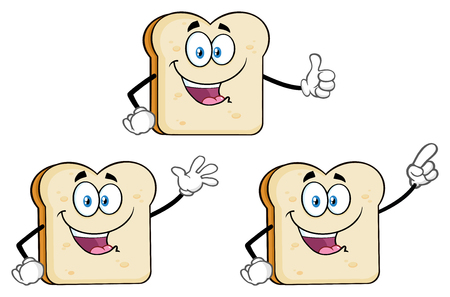 White Sliced Bread Cartoon Mascot Character 1. Vector Collection Isolated On White Background 写真素材