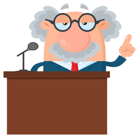 Professor Or Scientist Cartoon Character Speaking Behind a Podium. Vector Illustration Flat Design Isolated On White Background