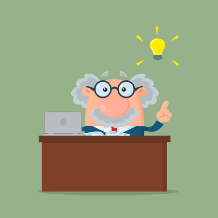 Professor Or Scientist Cartoon Character Behind Desk With A Big Idea. Vector Illustration Flat Design With Background Imagens