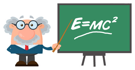 Professor Or Scientist Cartoon Character With Pointer Presenting Einstein Formula. Vector Illustration Flat Design Isolated On White Background