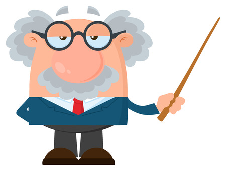 Professor Or Scientist Cartoon Character Holding A Pointer. Vector Illustration Flat Design Isolated On White Background Imagens - 97119614
