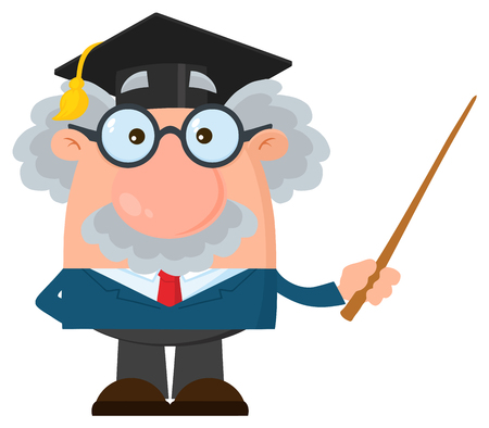 Professor Or Scientist Cartoon Character With Graduate Cap Holding A Pointer. Vector Illustration Flat Design Isolated On White Background