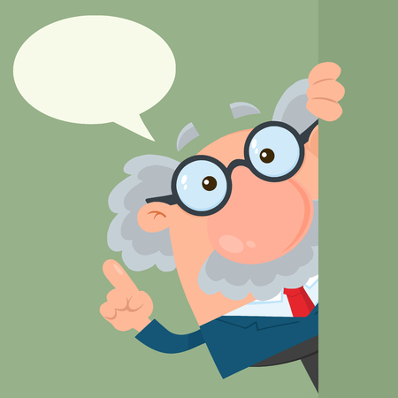 Professor Or Scientist Cartoon Character Looking Around Corner With Speech Bubble. Vector Illustration Flat Design With Background Stock Photo