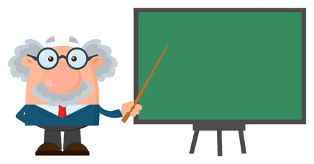 Professor Or Scientist Cartoon Character With Pointer Presenting On A Board. Vector Illustration Flat Design Isolated On White Background