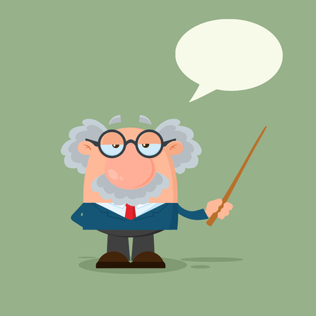 Professor Or Scientist Cartoon Character Holding A Pointer With Speech Bubble. Vector Illustration Flat Design With Background