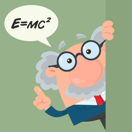 Professor Or Scientist Cartoon Character Looking Around Corner With Speech Bubble And Einstein Formula. Vector Illustration Flat Design With Background