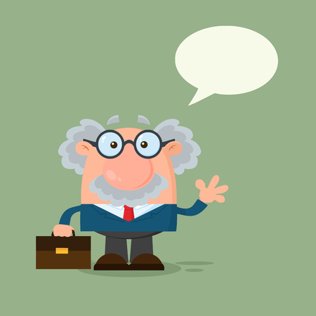 Professor Or Scientist Cartoon Character Waving With Speech Bubble. Vector Illustration Flat Design With Background