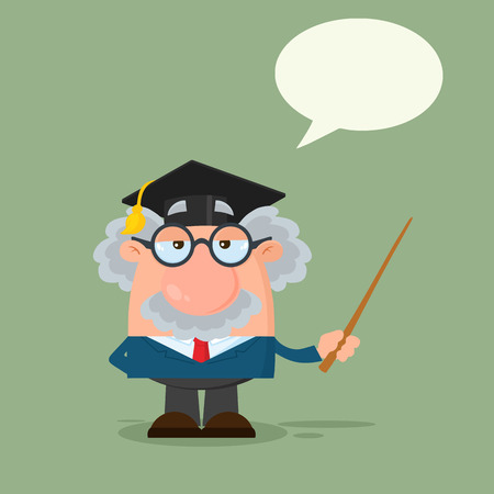 Professor Or Scientist Cartoon Character With Graduate Cap Holding A Pointer With Speech Bubble. Illustration Flat Design With Background