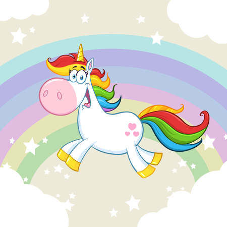 Cute Magic Unicorn Cartoon Mascot Character Running Around Rainbow With Clouds. Illustration With  Background
