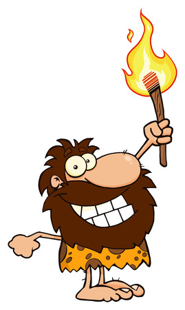 Happy Caveman Cartoon Character Holding Up A Torch. Illustration Isolated On White Background Banque d'images - 99235382