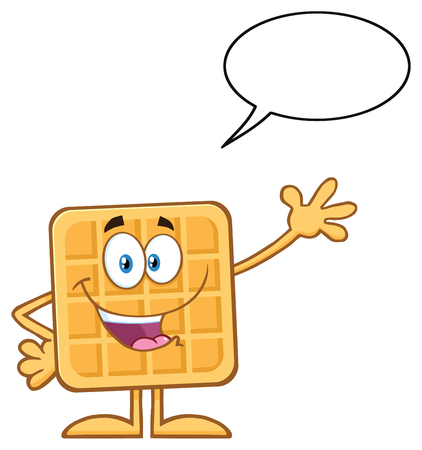 Happy Square Waffle Cartoon Mascot Character Waving. Illustration Isolated On White Background With Speech Bubble Stock Photo