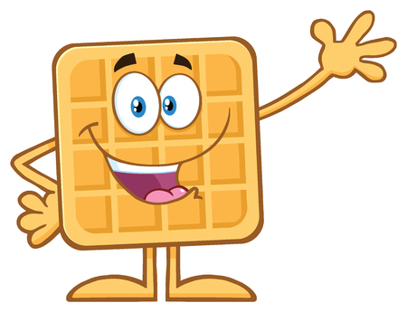 Happy Square Waffle Cartoon Mascot Character Waving. Illustration Isolated On White Background