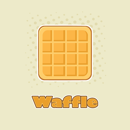 Square Waffle Cartoon Drawing Design. Illustration With Background