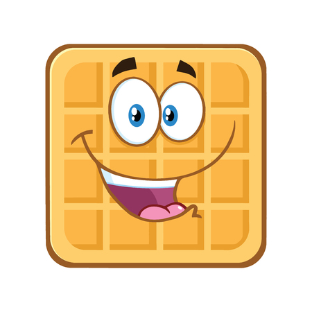 Happy Square Waffle Cartoon Mascot Character. Illustration Isolated On White Background